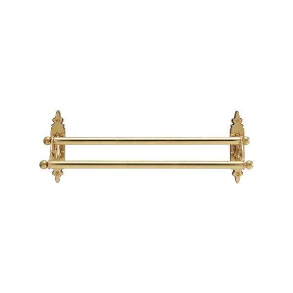 640304 真鍮製ダブルタオルバー36・2連タオル掛け(クラシック)|アンティーク調ゴールド