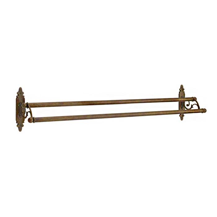 640315 真鍮製ダブルタオルバー68・2連バスタオル掛け(クラシック・アンティークブラス)|アンティーク調ゴールド