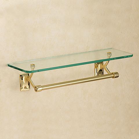 640711 おしゃれな金色のタオルバー付ガラスシェルフ(スタンダード・ブラス) ゴールド色