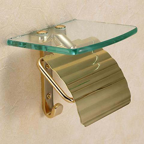 Papasalada Glass Shelf Standard Brass With Toilet Paper Holder