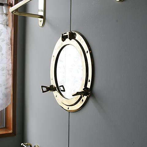 670050 真鍮製ラウンドミラーL(スタンダード・ブラス)|アンティーク調ゴールド色