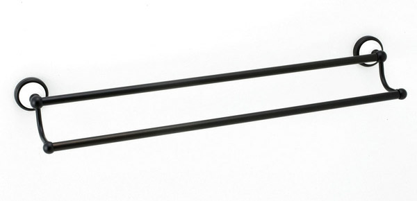 【キャンペーン期間中ポイント5倍】640606 おしゃれな真鍮製バスタオル掛け・ダブルタオルバー(セラミック・ブラックコンビ)|モダン調
