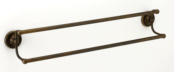 640763 お洒落な真鍮製タオル掛け・ダブルタオルバー(真鍮古色仕上げ)|アンティーク調