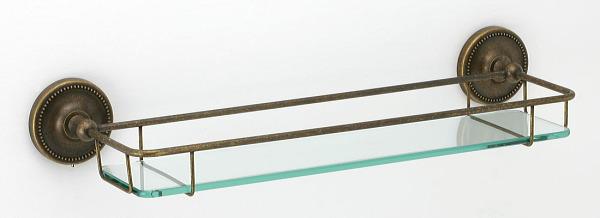 640768 真鍮製ガラスシェルフ(真鍮古色仕上げ)|アンティーク調