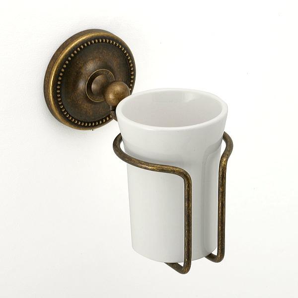 大人アンティークな風合いの古色調グラスホルダー 真っ白な陶器のコップ 640769 期間限定 真鍮製グラスホルダー 真鍮古色仕上げ アンティーク調 ラッピング無料 陶器のコップ