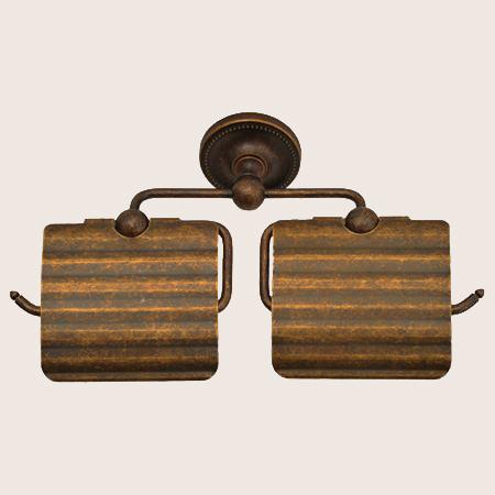 640776 お洒落な真鍮製ダブルトイレットペーパーホルダー(真鍮古色仕上げ)|アンティーク調トイレットペーパーカバー