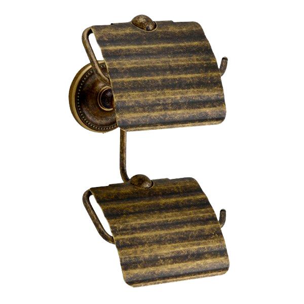 640777 お洒落な真鍮製ダブルトイレットペーパーホルダー縦型(真鍮古色仕上げ)|アンティーク調トイレットペーパーカバー