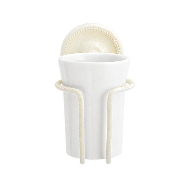 大人アンティークな風合いの古白色調グラスホルダー 真っ白な陶器のコップ 大幅にプライスダウン ランキング総合1位 640839 真鍮製グラスホルダー 真鍮古白色仕上げ 陶器のコップ アンティーク調