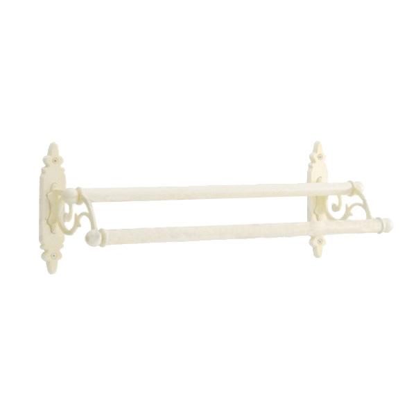 640324 真鍮製ダブルタオルバー36(クラシック・アンティークホワイト)|アンティーク調の2段の白いタオル掛け