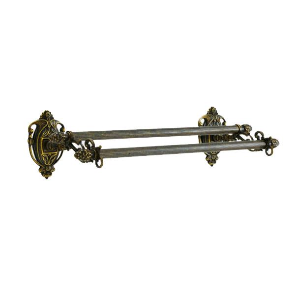 640363 真鍮製ダブルタオルバー36(アルベリティ·アンティークブラス) ヨーロピアン調クラシックデザインの2段のタオル掛け