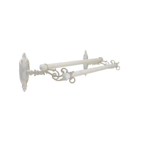 640370 真鍮製ダブルタオルバー68(アルベリティ・アンティークホワイト)|ヨーロピアン調クラシックデザインのバスタオル掛け