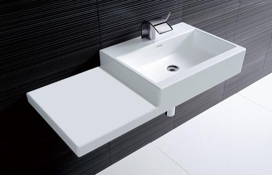 【LAUFEN】livingcity サイドカウンター付き壁掛洗面器159 SL818431-W-104 (W1000×D460×H155)エレガントラグジュアリー洗面ボールハイクオリティ