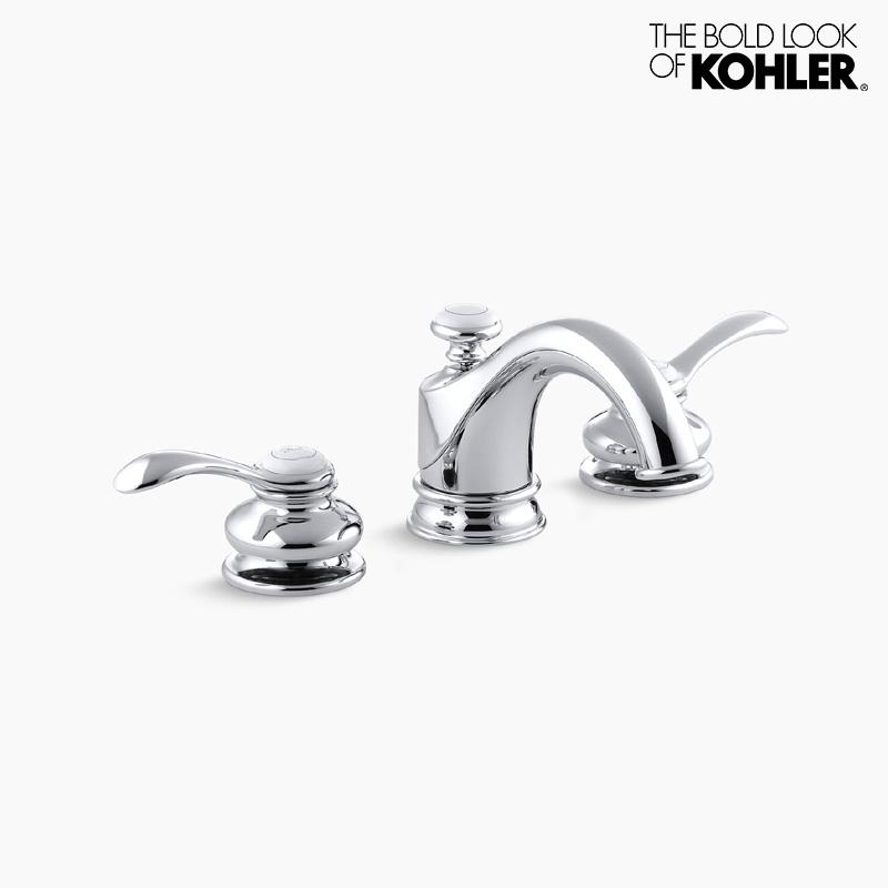 混合栓 【KOHLER】 Fairfax フェアファックス 2ハンドル 8インチ 洗面水栓 (クロム)ポップアップ排水金具付