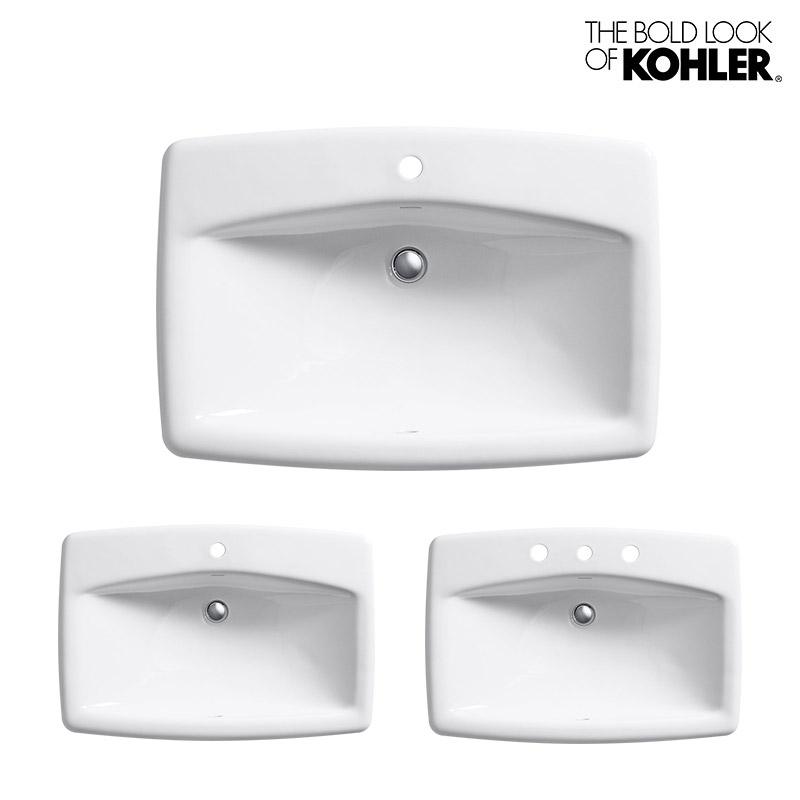 【KOHLER】Man's Lav/マンズラブ ホーロー洗面器 K-2885 (W711×D483×H200)水栓直付け 1ホール 3ホール 8インチ 洗面所 角型