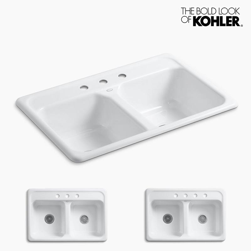 キッチンシンク 【KOHLER】 Delafield/デラフィールド 2槽シンク (W838×D559×H216)