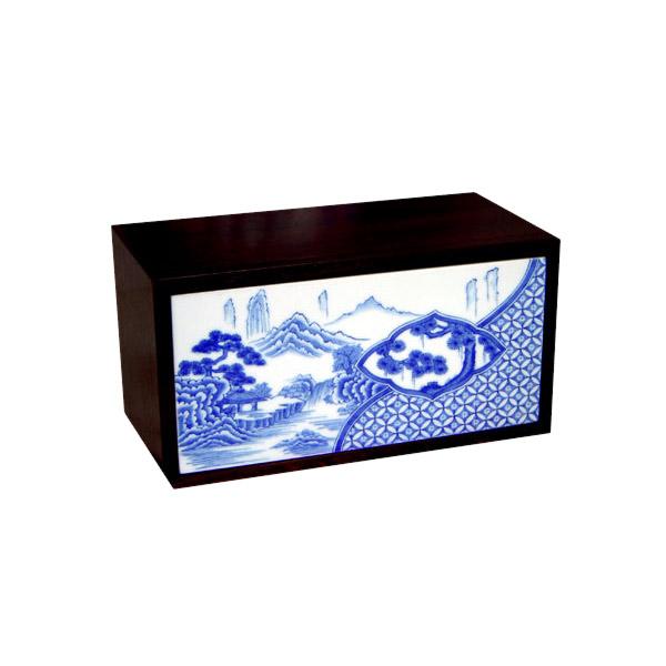 有田焼 伊万里焼 染付祥瑞 ペーパータオルボックス ART1-GD001 染付の藍色 洗面所 手洗い トイレ 小物