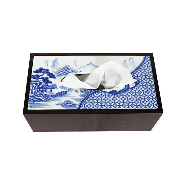 有田焼 伊万里焼 磁器 陶磁器 染付祥瑞 ティッシュボックス ART1-GD002 鮮やかな染付の藍色 洗面所 手洗い リビング 小物