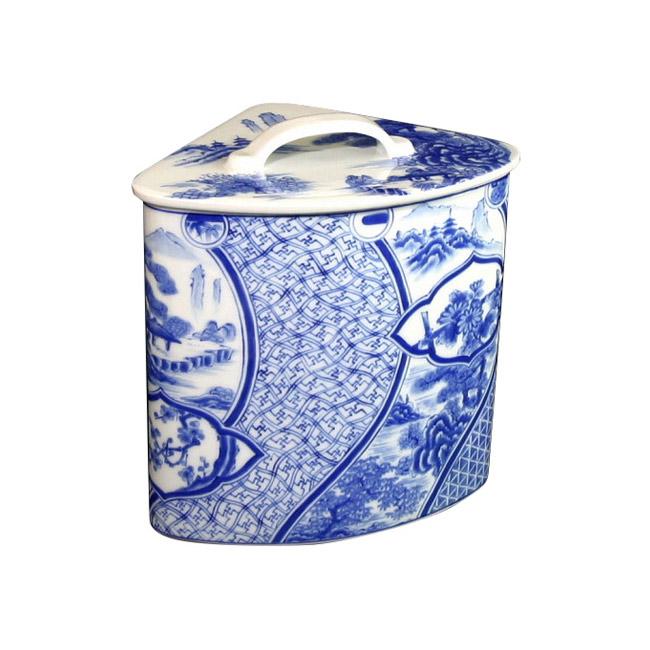 【有田焼】染付祥瑞 エチケットボックス ART1-GD012 鮮やかな染付の藍色 トイレ 手洗い ごみばこ