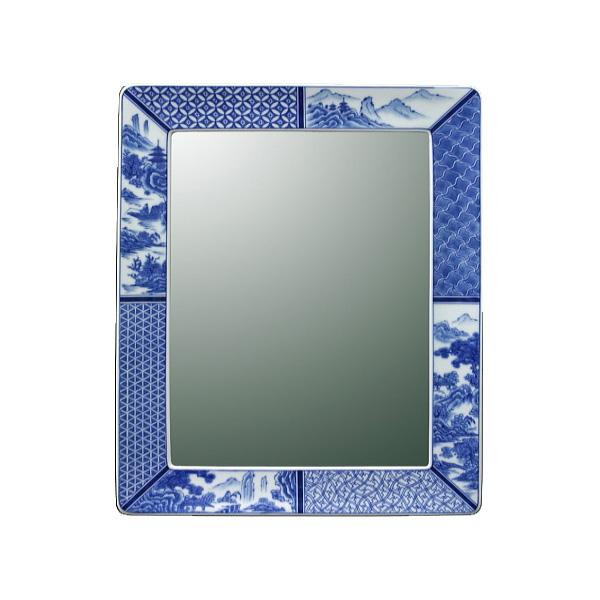 【送料無料】【有田焼】伊万里焼 染付祥瑞 鏡(角型) ART1-GL005 (H450×W350) 鮮やかな染付の藍色 壁掛け ミラー 洗面所 手洗い リビング 【05P03Dec16】