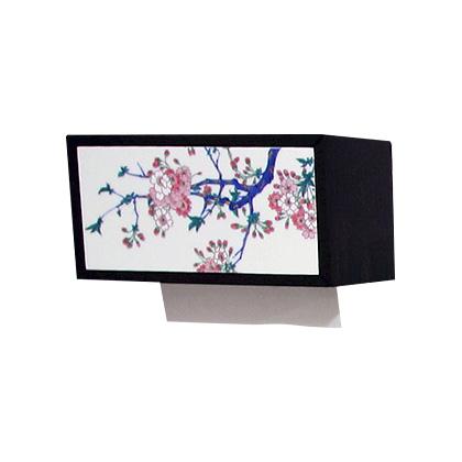 【有田焼】伊万里焼 染錦金彩桜絵 ペーパータオルボックス ART2-GD001 ペーパータオルホルダー 壁掛け 洗面所 手洗い トイレ