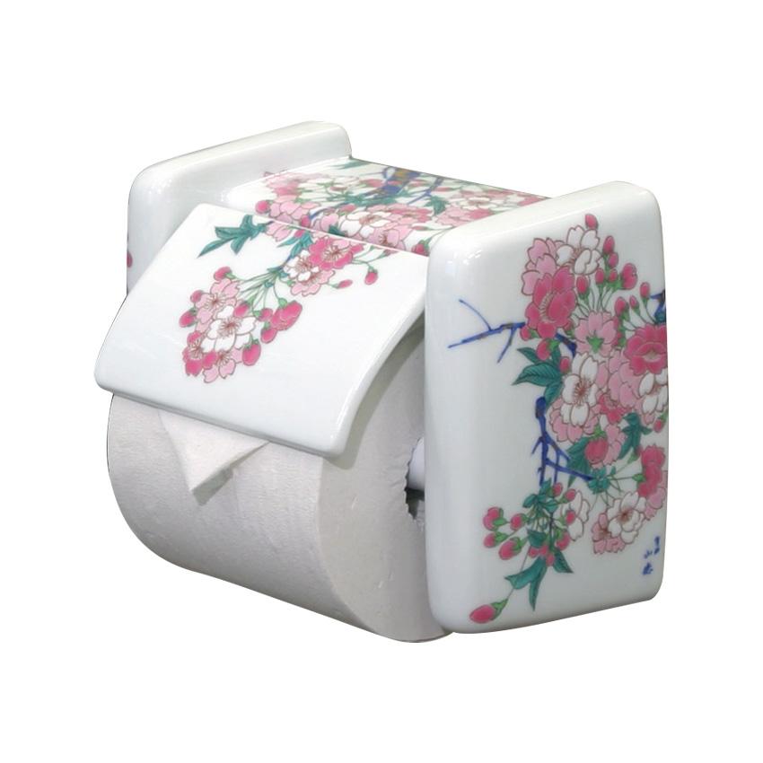 【有田焼】伊万里焼 染錦金彩桜絵 ペーパーホルダー ART2-GD011 あでやかな桜 華麗な染錦トイレ手洗い 磁器製トイレットペーパーカバー