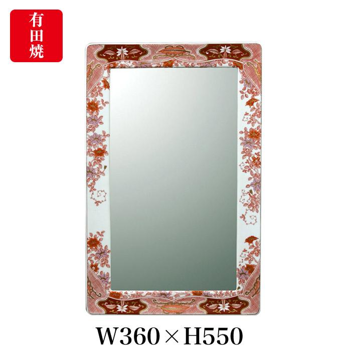 【有田焼】伊万里焼 錦鉄線花絵 鏡(角型) ART4-GL004 (W550×H360)壁掛け ミラー 玄関 洗面所 リビング