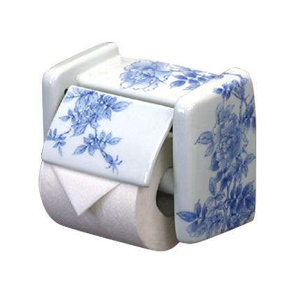 【有田焼】伊万里焼 染付薔薇絵(そめつけばらえ)ペーパーホルダー ART6-GD011 日本製 トイレットペーパーホルダー 人気の有田焼 おしゃれ 陶磁器