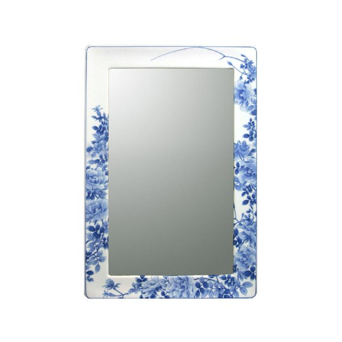 【有田焼】伊万里焼 染付薔薇絵(そめつけばらえ) 鏡(角型・H450×W350)ART6-GL005 壁掛けミラー 玄関 洗面所 リビング 手洗い場