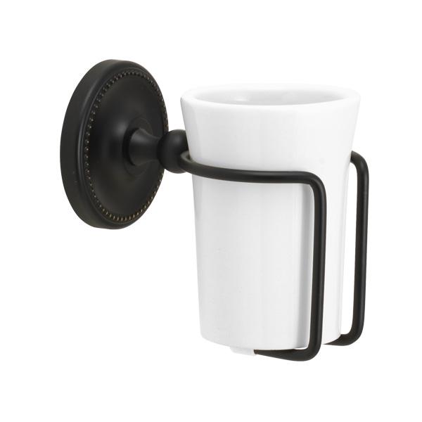 コップ タンブラー 上等 真鍮 陶器 黒 年間定番 アンティーク 洗面小物 グラスホルダー ブラック 歯ブラシコップ置き ヴィクトリアン 640457