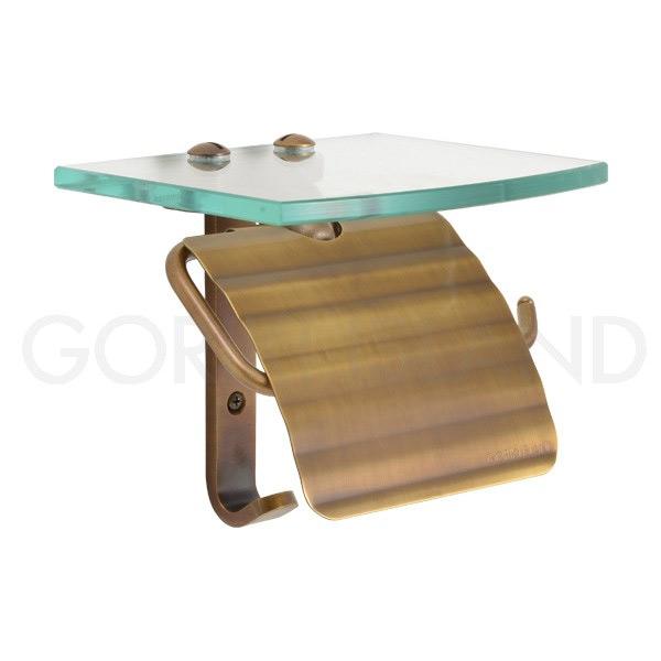 ガラスシェルフ 棚付き 真鍮 レトロ トイレットペーパーホルダー スタンダード・アンティークブラス 640464