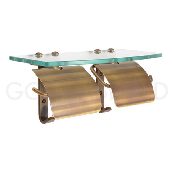 スタンダード・アンティークブラス 640468 真鍮 レトロ ダブルトイレットペーパーホルダー ガラスシェルフ 棚付き