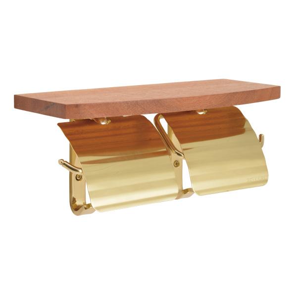 真鍮 ダブルトイレットペーパーホルダー 棚板 棚付き 2連 ブラス ゴールド 640479