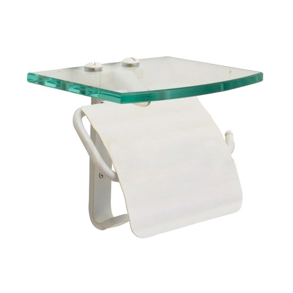 ガラスシェルフ付トイレットペーパーホルダー(スタンダード・真鍮古白色仕上げ) 640718