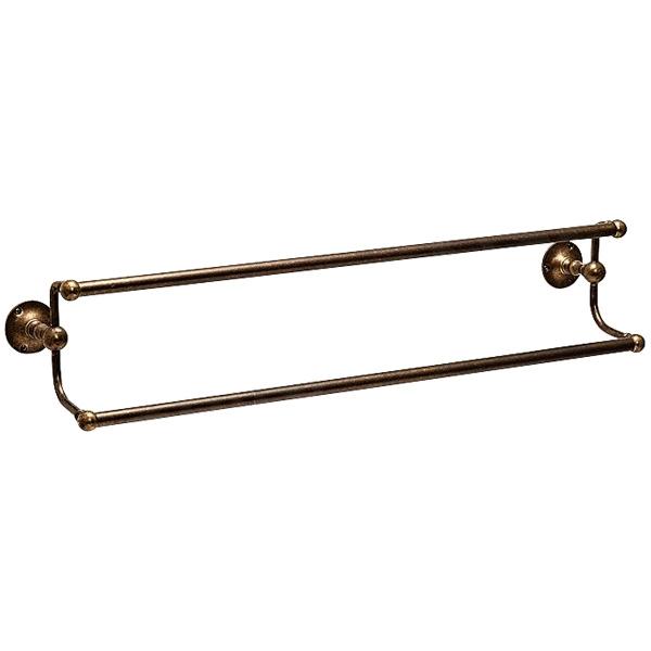 640824 おしゃれな真鍮製2段タオル掛け・ダブルタオルバー(ソリッド真鍮古色仕上げ)|古色調バスタオル掛け