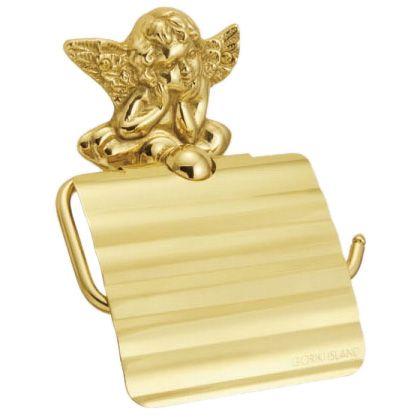 エンジェルモチーフの大人可愛い金色のアンティーク調ペーパーホルダー 日本製 倉庫 640073 真鍮製トイレットペーパーホルダー エンジェル アンティーク調ゴールド