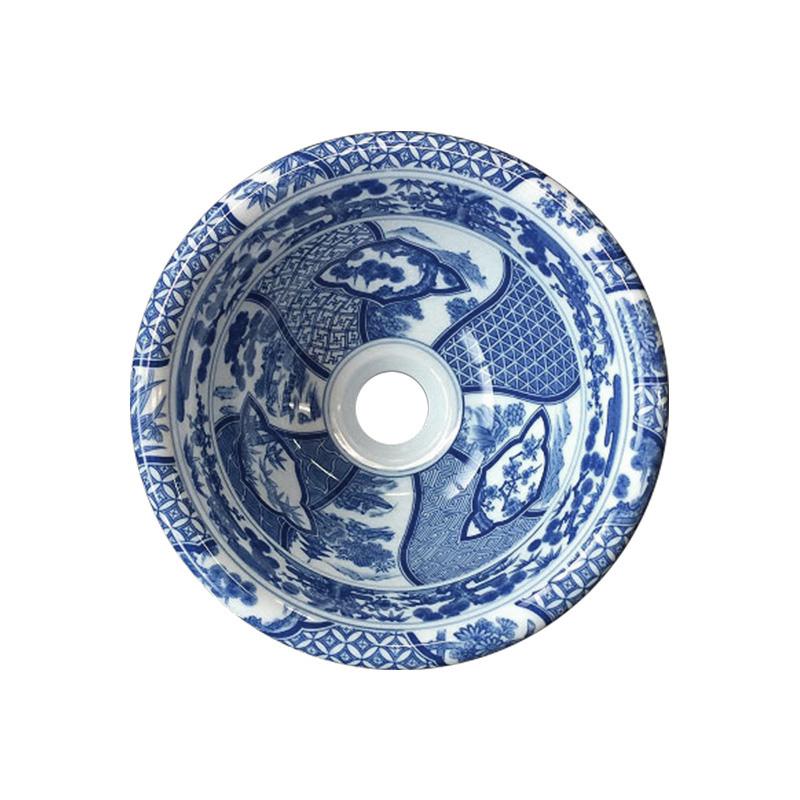 【有田焼】伊万里焼 染付祥瑞 手洗鉢 ART1-250(φ250×H108) 磁器 国産手洗い鉢 トイレ 置き型 埋め込み型