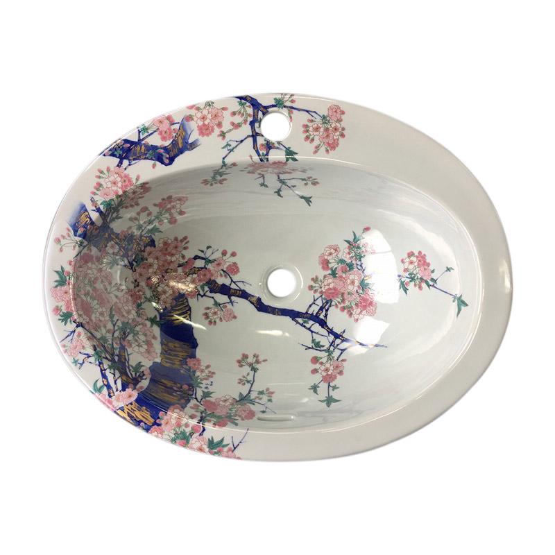【有田焼】染錦金彩桜絵 洗面器 ART2-580450 (W580×D450×H200)楕円型 洗面ボウル 洗面所 手洗い場 埋め込み型