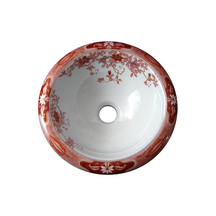 【有田焼】伊万里焼 錦鉄線花絵 手洗鉢 ART4-300(φ300×H122) 磁器 にしきてっせんかえ 国産手洗い鉢 トイレ 置き型 埋め込み型