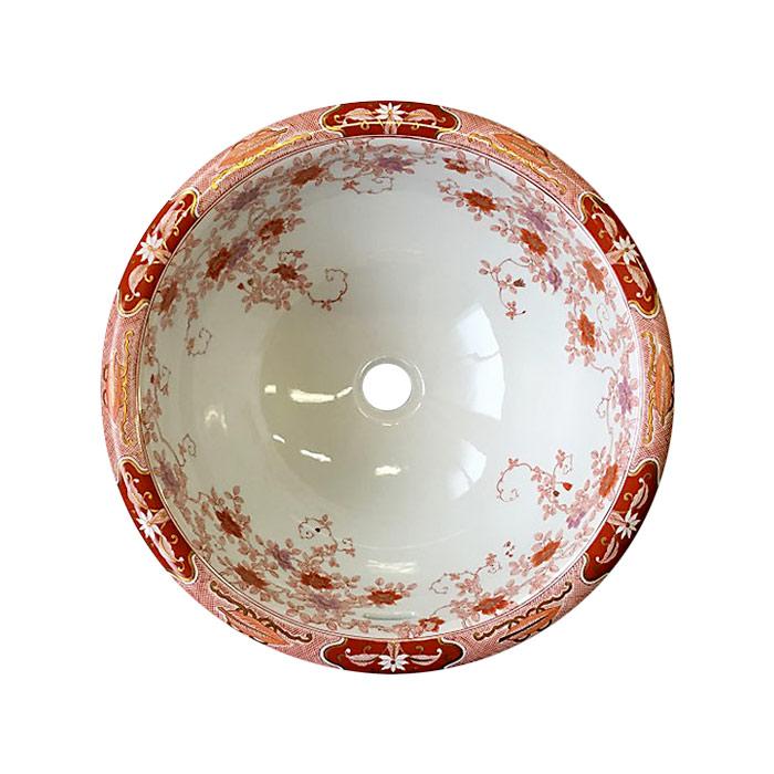 【有田焼】伊万里焼 錦鉄線花絵 手洗鉢 ART4-410(φ410×H195) 磁器 陶磁器 にしきてっせんかえ 国産 洗面ボール 埋め込み型 洗面所 400年の伝統と職人の技術