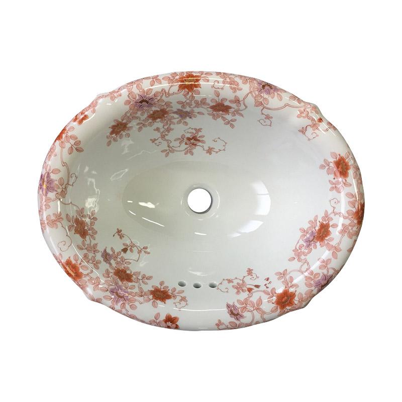 【有田焼】伊万里焼 錦鉄線花絵 洗面器(花型)ART4-415330-H(W415×D330×H178)磁器 陶磁器 にしきてっせんかえ 国産 洗面ボール 埋め込み型 洗面所 赤絵