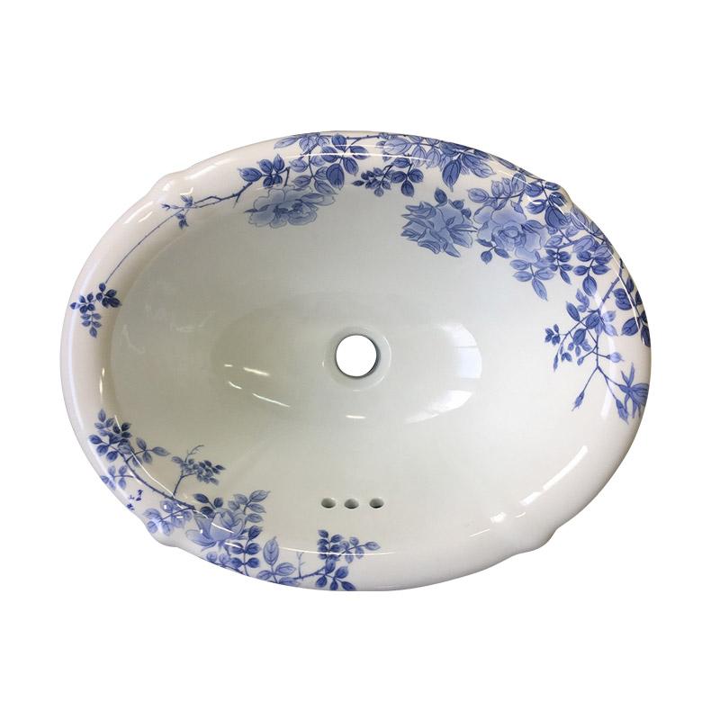 【有田焼】伊万里焼 染付薔薇絵(そめつけばらえ)洗面器 ART6-415330-H(花型・W415×D330×H178)おしゃれな磁器 陶磁器 国産 洗面ボウル 埋め込み型