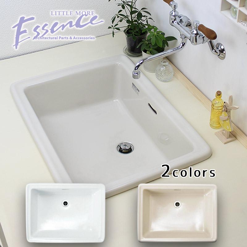 最上の品質な 洗面ボール スクエア 選べる2色 エッセンス:個性派水回りショップ パパサラダ 洗面ボウル Lレクタングル 陶器-木材・建築資材・設備
