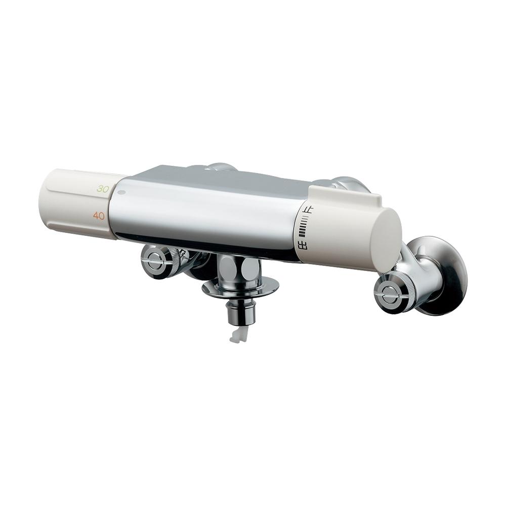 洗濯機用サーモスタット混合栓(ドラム式用) 177-002K (L80×取付芯から下へ82.5mm/吐水口)寒冷地用