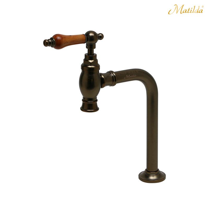 マチルダ 水栓 蛇口【Matilda】クリオネ・ペティート ウッドレバー ブロンズ アンティーク 水栓金具 手洗い 単水栓