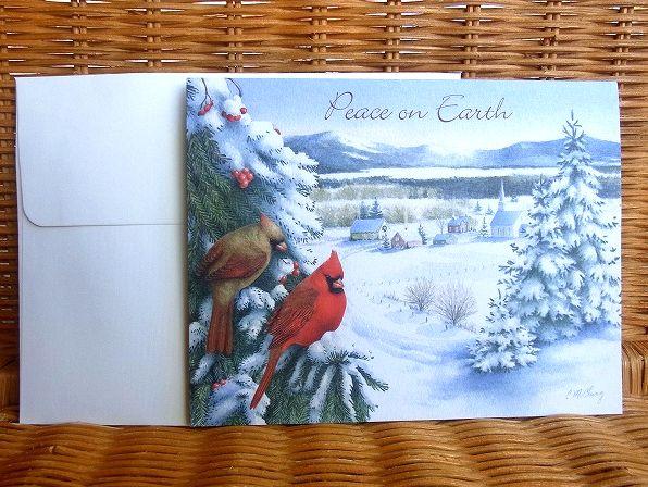 雪景色のクリスマスカード LANG 本物 日本 ラング クリスマスカード Over Watching The Village