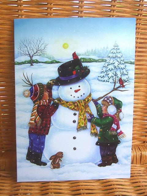 素敵なデザインのクリスマスカード USA ショッピング designer greeting クリスマスカード Kids スノーマン作り 新作送料無料 Snowman Two Making