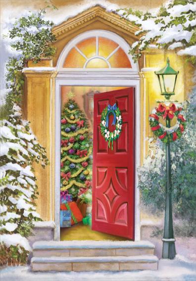 超大判のクリスマスカード USA designer greeting クリスマスカード 割引も実施中 超大判 注文後の変更キャンセル返品 Lamp and Post Door クリスマス飾りの赤いドア Open