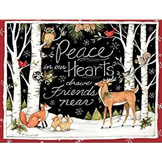 スーザンウィンゲットの素敵なクリスマスカード 限定数のみ再入荷 国内正規総代理店アイテム 爆安 LANG ラング クリスマスカード 白樺 Hearts In Peace Our