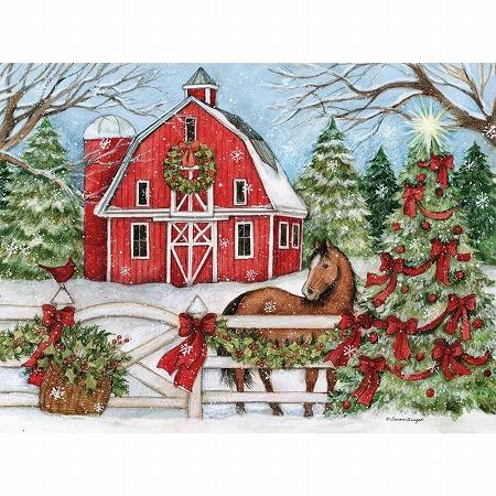 スーザンウィンゲットのクリスマスカード LANG お洒落 ラング クリスマスカード Holiday 至上 馬とツリー Heartland
