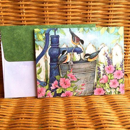 スーザンウィンゲットの可愛いカード LANG 特売 ラング ノートカード 信用 水飲み場の小鳥 Fountain Garden
